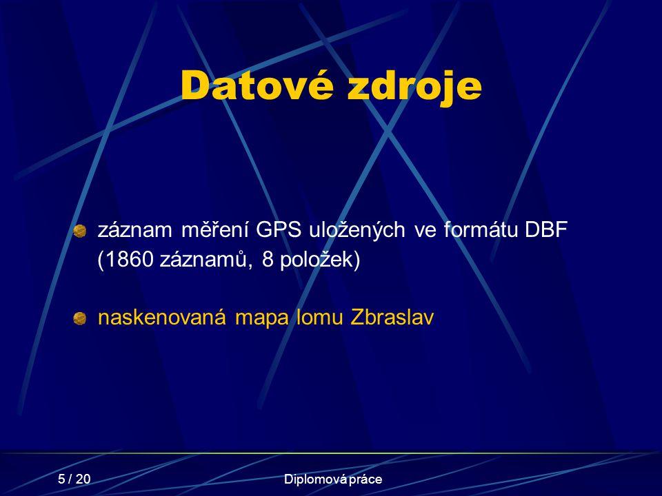 5 / 20Diplomová práce Datové zdroje záznam měření GPS uložených ve formátu DBF (1860 záznamů, 8 položek) naskenovaná mapa lomu Zbraslav