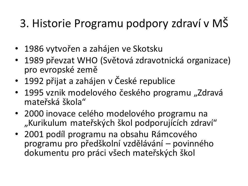 3. Historie Programu podpory zdraví v MŠ 1986 vytvořen a zahájen ve Skotsku 1989 převzat WHO (Světová zdravotnická organizace) pro evropské země 1992