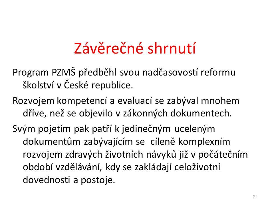 Program PZMŠ předběhl svou nadčasovostí reformu školství v České republice. Rozvojem kompetencí a evaluací se zabýval mnohem dříve, než se objevilo v