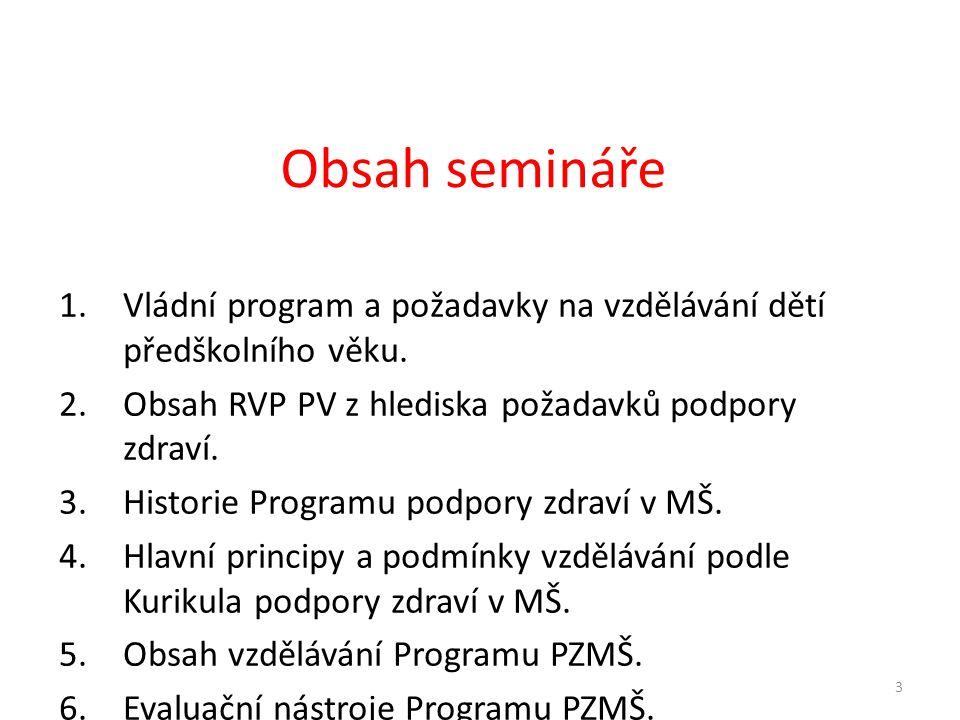 1.Vládní program a požadavky na vzdělávání dětí předškolního věku. 2.Obsah RVP PV z hlediska požadavků podpory zdraví. 3.Historie Programu podpory zdr