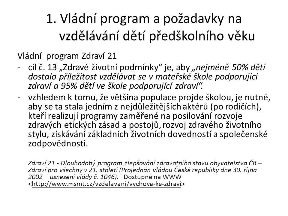 Požadavky na naplnění: -začlenit státní správu a samosprávu na úrovni krajů do koordinace ve prospěch rozšiřování sítě škol podporujících zdraví -implementovat požadavky na podporu zdraví do Rámcových vzdělávacích programů pro předškolní vzdělávání