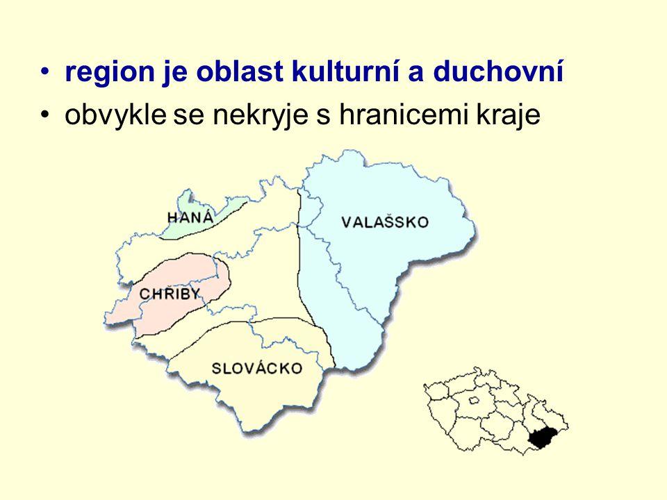 region je oblast kulturní a duchovní obvykle se nekryje s hranicemi kraje