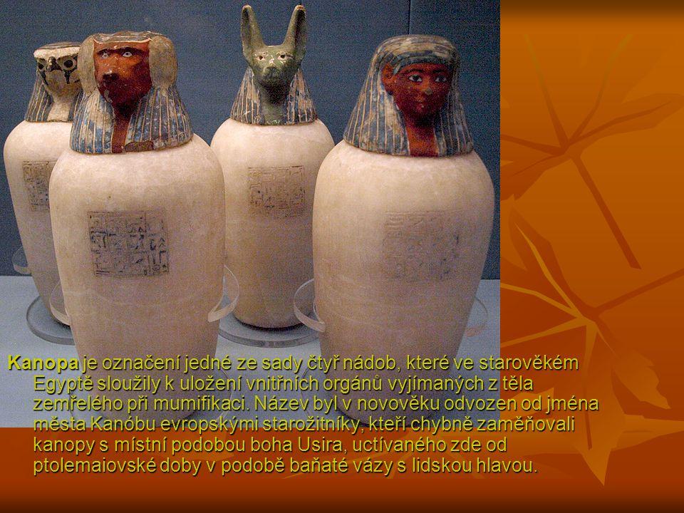 Kanopa je označení jedné ze sady čtyř nádob, které ve starověkém Egyptě sloužily k uložení vnitřních orgánů vyjímaných z těla zemřelého při mumifikaci.
