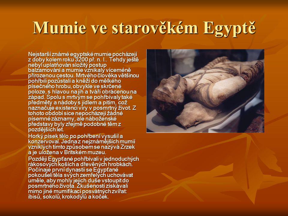 Mumie ve starověkém Egyptě Nejstarší známé egyptské mumie pocházejí z doby kolem roku 3200 př.