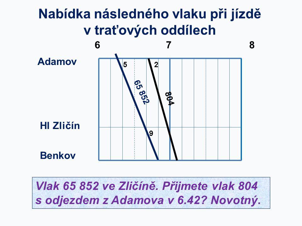 Adamov Benkov 65 852 5 678 Hl Zličín Nabídka následného vlaku při jízdě v traťových oddílech 9 2 804 Vlak 65 852 ve Zličíně. Přijmete vlak 804 s odjez