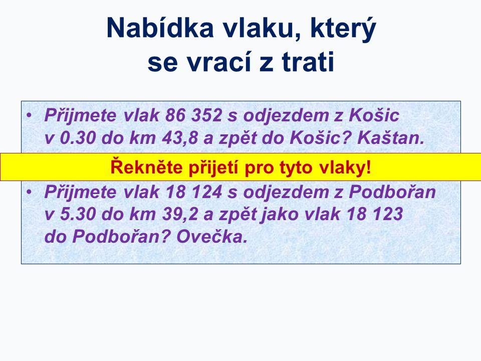 Nabídka vlaku, který se vrací z trati Přijmete vlak 86 352 s odjezdem z Košic v 0.30 do km 43,8 a zpět do Košic? Kaštan. nebo jiný případ: Přijmete vl