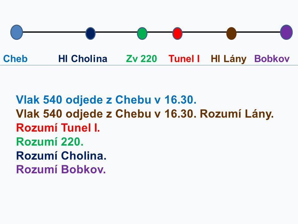 ChebBobkovTunel IZv 220Hl Cholina Vlak 540 odjede z Chebu v 16.30. Vlak 540 odjede z Chebu v 16.30. Rozumí Lány. Rozumí Tunel I. Rozumí 220. Rozumí Ch
