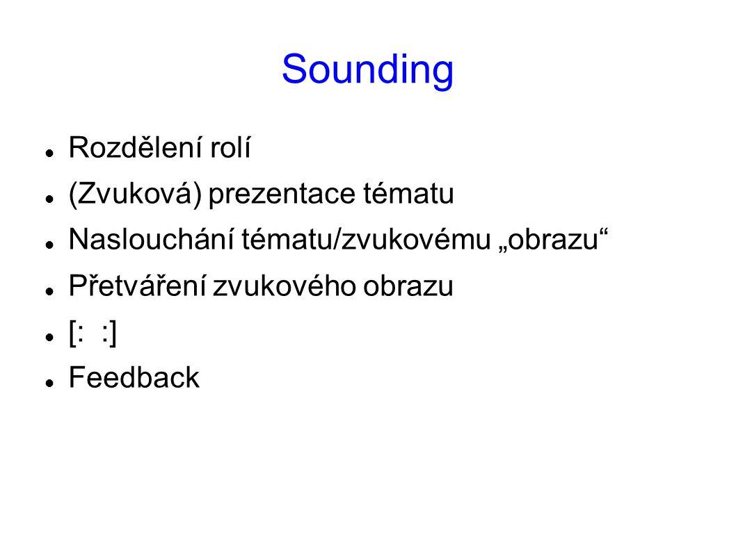 """Sounding Rozdělení rolí (Zvuková) prezentace tématu Naslouchání tématu/zvukovému """"obrazu"""" Přetváření zvukového obrazu [: :] Feedback"""