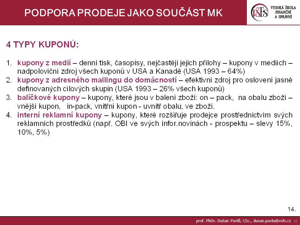 14. prof. PhDr. Dušan Pavlů, CSc., dusan.pavlu@vsfs.cz :: PODPORA PRODEJE JAKO SOUČÁST MK