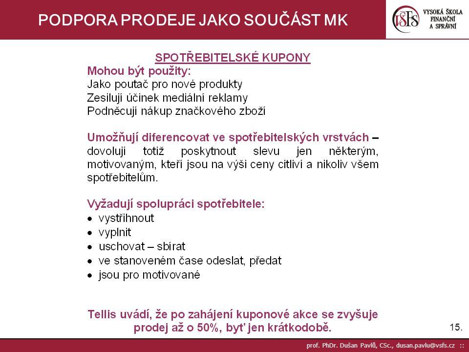 15. prof. PhDr. Dušan Pavlů, CSc., dusan.pavlu@vsfs.cz :: PODPORA PRODEJE JAKO SOUČÁST MK