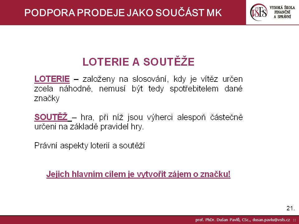 21. prof. PhDr. Dušan Pavlů, CSc., dusan.pavlu@vsfs.cz :: PODPORA PRODEJE JAKO SOUČÁST MK