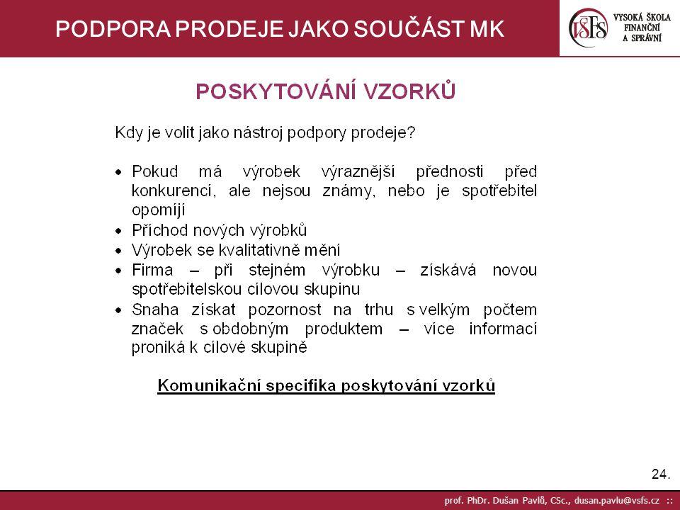 24. prof. PhDr. Dušan Pavlů, CSc., dusan.pavlu@vsfs.cz :: PODPORA PRODEJE JAKO SOUČÁST MK
