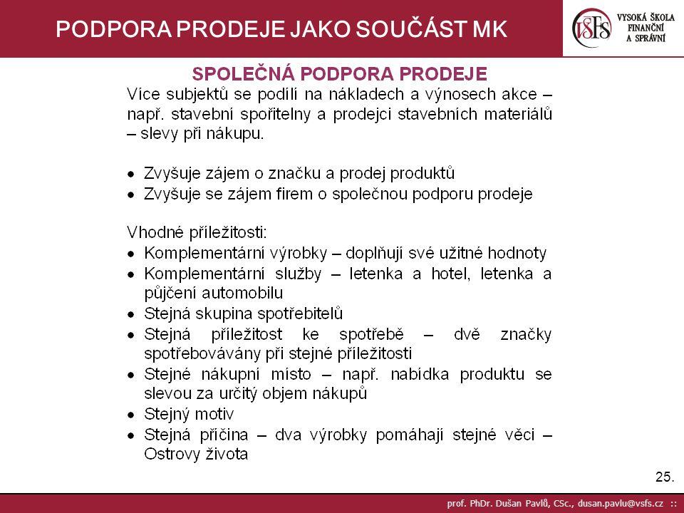 25. prof. PhDr. Dušan Pavlů, CSc., dusan.pavlu@vsfs.cz :: PODPORA PRODEJE JAKO SOUČÁST MK