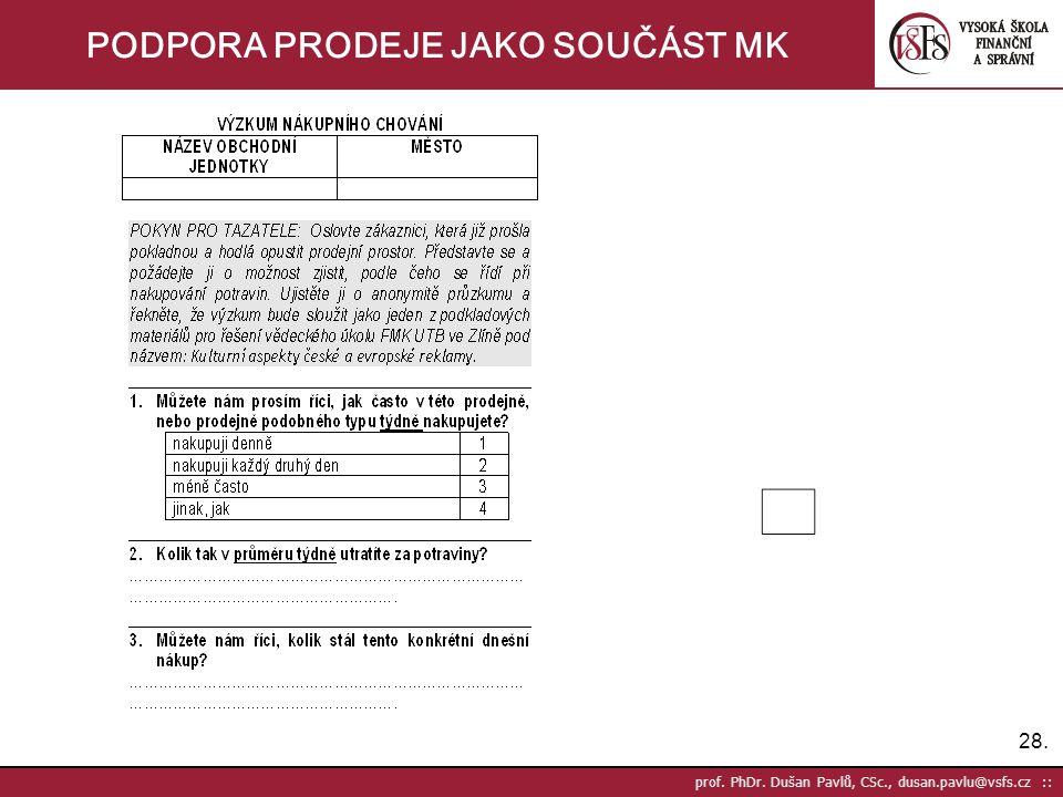 28. prof. PhDr. Dušan Pavlů, CSc., dusan.pavlu@vsfs.cz :: PODPORA PRODEJE JAKO SOUČÁST MK