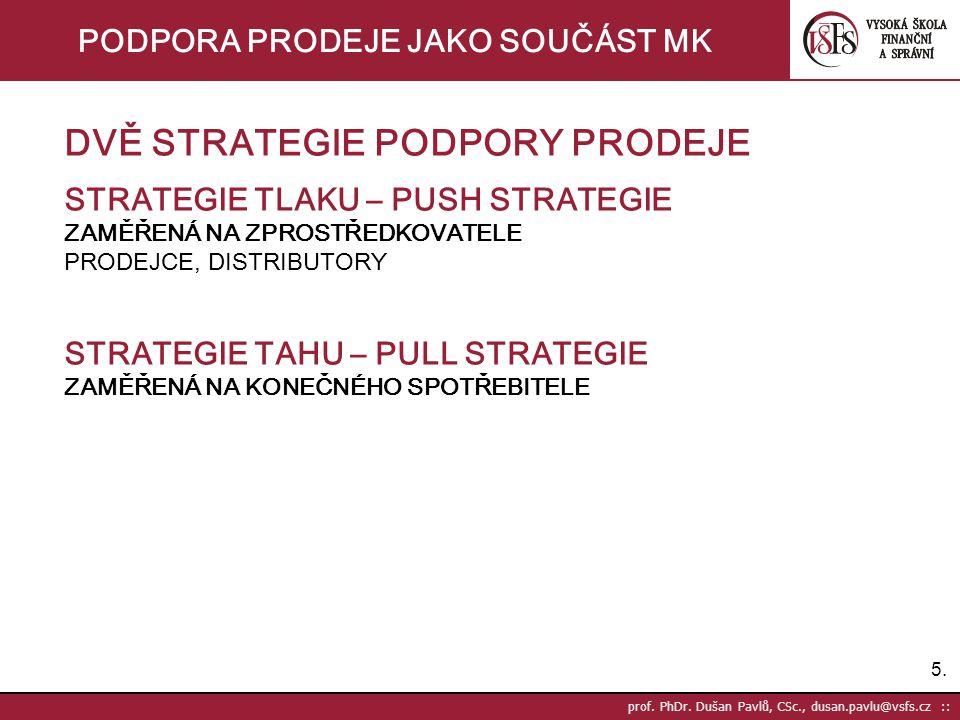 26. prof. PhDr. Dušan Pavlů, CSc., dusan.pavlu@vsfs.cz :: PODPORA PRODEJE JAKO SOUČÁST MK