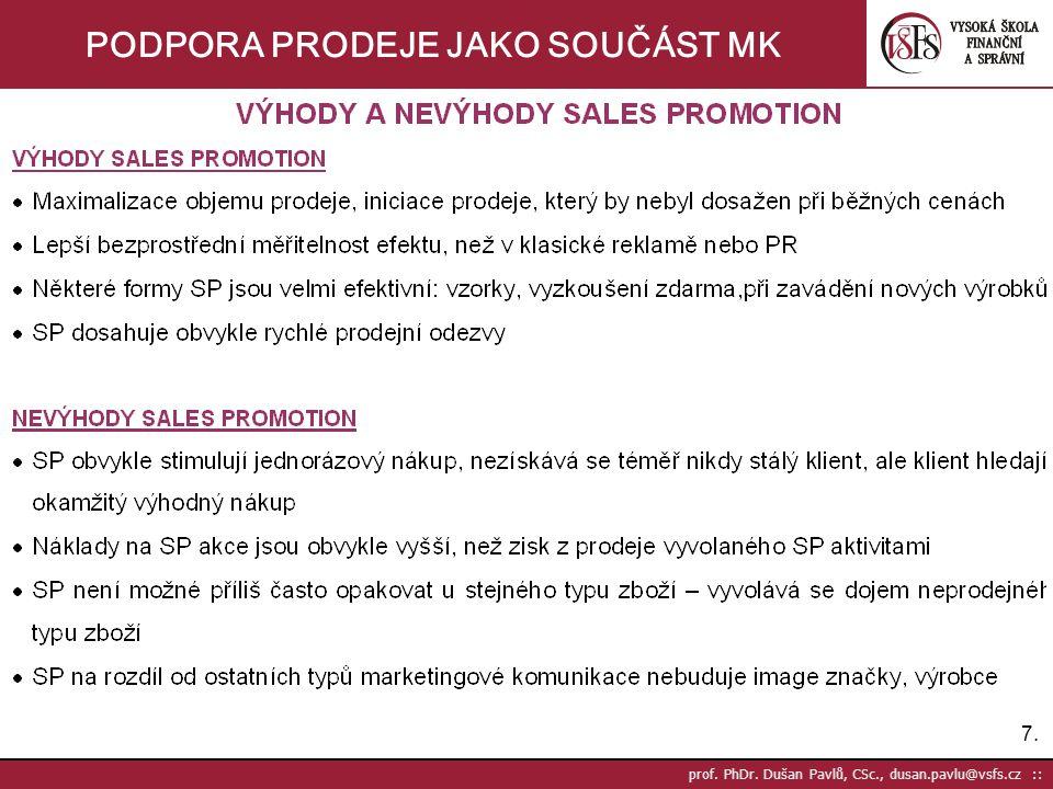 7.7. prof. PhDr. Dušan Pavlů, CSc., dusan.pavlu@vsfs.cz :: PODPORA PRODEJE JAKO SOUČÁST MK