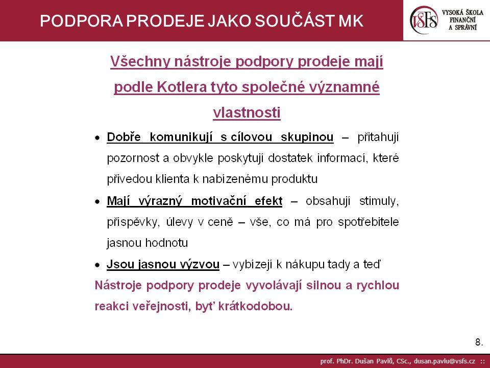 19. prof. PhDr. Dušan Pavlů, CSc., dusan.pavlu@vsfs.cz :: PODPORA PRODEJE JAKO SOUČÁST MK