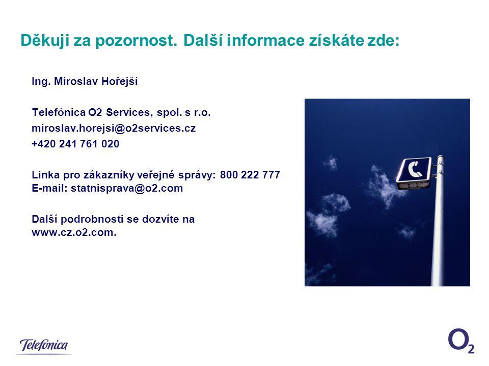 Děkuji za pozornost. Další informace získáte zde: Ing. Miroslav Hořejší Telefónica O2 Services, spol. s r.o. miroslav.horejsi@o2services.cz +420 241 7