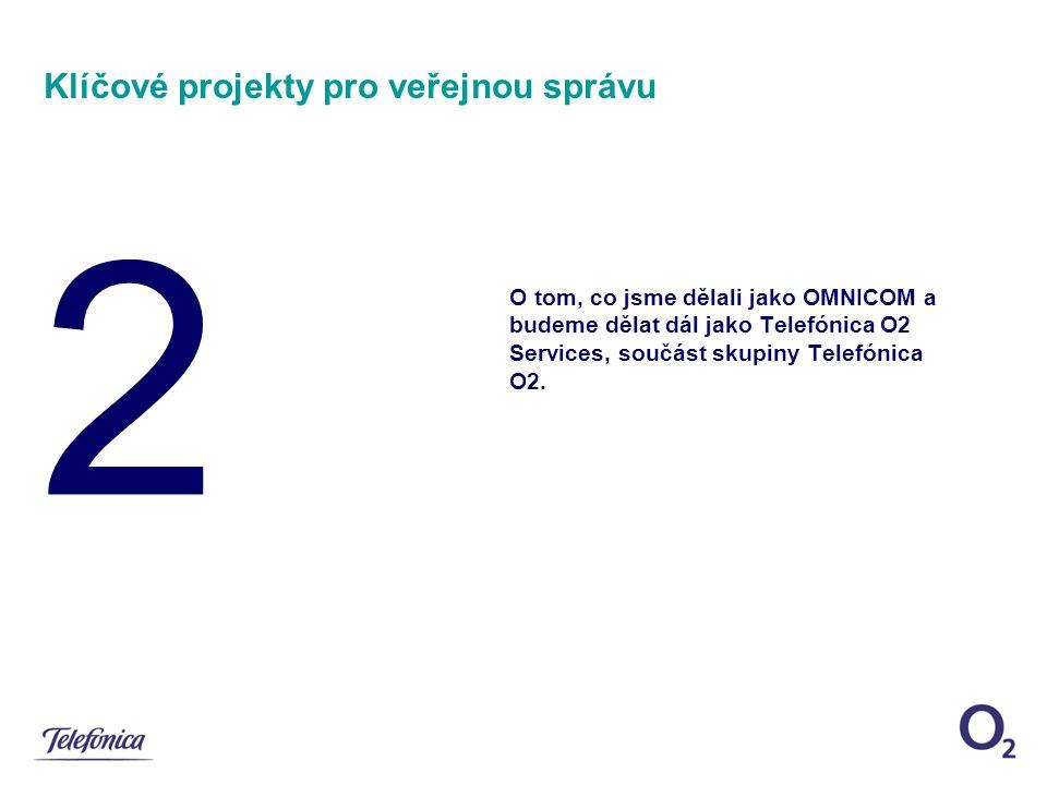 2 Klíčové projekty pro veřejnou správu O tom, co jsme dělali jako OMNICOM a budeme dělat dál jako Telefónica O2 Services, součást skupiny Telefónica O