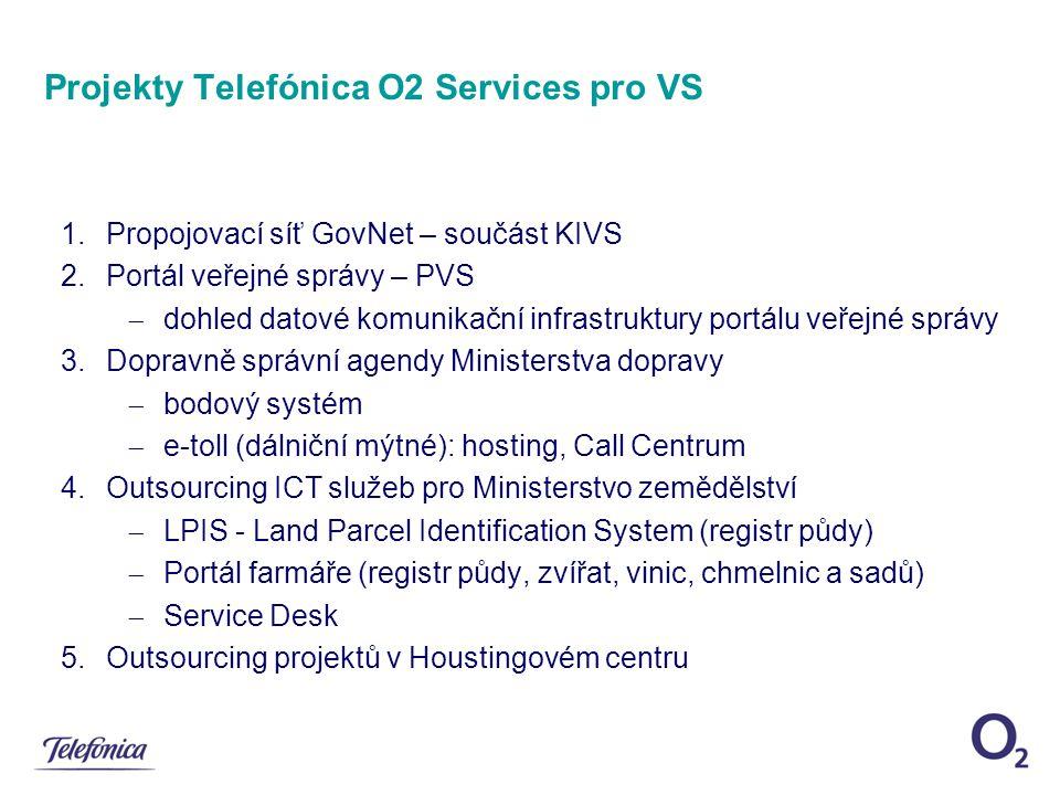 Projekty Telefónica O2 Services pro VS 1.Propojovací síť GovNet – součást KIVS 2.Portál veřejné správy – PVS  dohled datové komunikační infrastruktur