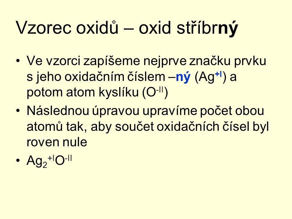 Vzorec oxidů – oxid stříbrný Ve vzorci zapíšeme nejprve značku prvku s jeho oxidačním číslem –ný (Ag +I ) a potom atom kyslíku (O -II ) Následnou úpra
