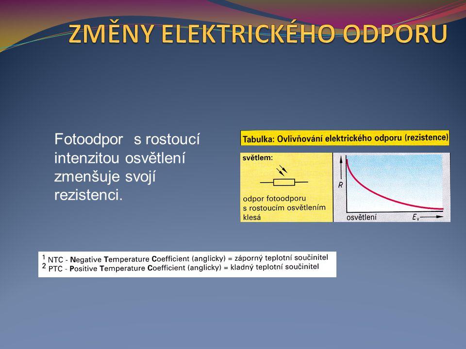 Fotoodpor s rostoucí intenzitou osvětlení zmenšuje svojí rezistenci.