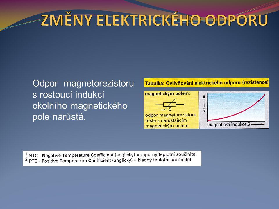 Odpor magnetorezistoru s rostoucí indukcí okolního magnetického pole narůstá.