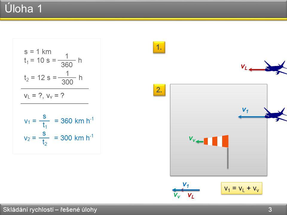 Úloha 1 Skládání rychlostí – řešené úlohy 3 s = 1 km t 1 = 10 s = h t 2 = 12 s = h 1 360 1 300 v L = ?,v v = .
