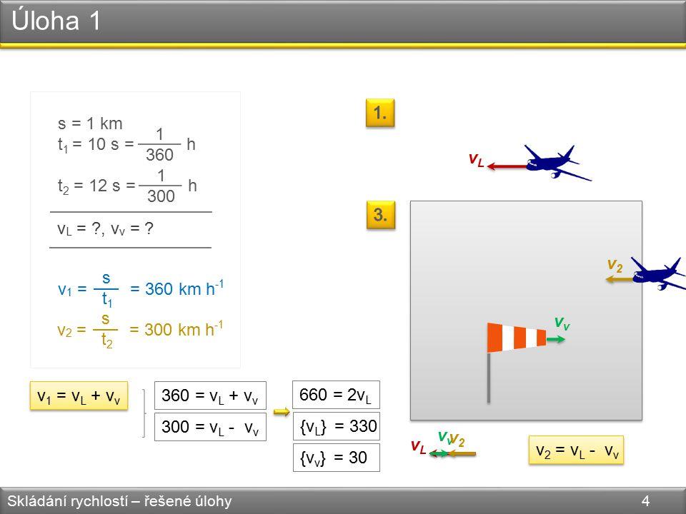 Úloha 1 Skládání rychlostí – řešené úlohy 4 s = 1 km t 1 = 10 s = h t 2 = 12 s = h 1 360 1 300 v L = ?,v v = .