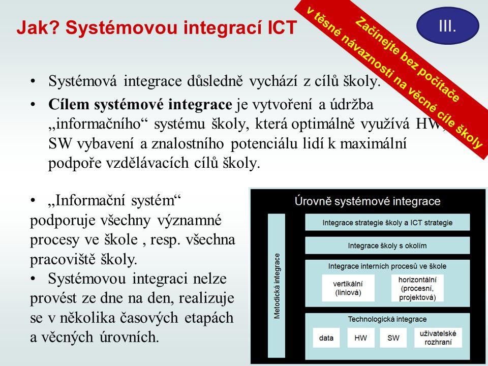 """Jak? Systémovou integrací ICT Systémová integrace důsledně vychází z cílů školy. Cílem systémové integrace je vytvoření a údržba """"informačního"""" systém"""