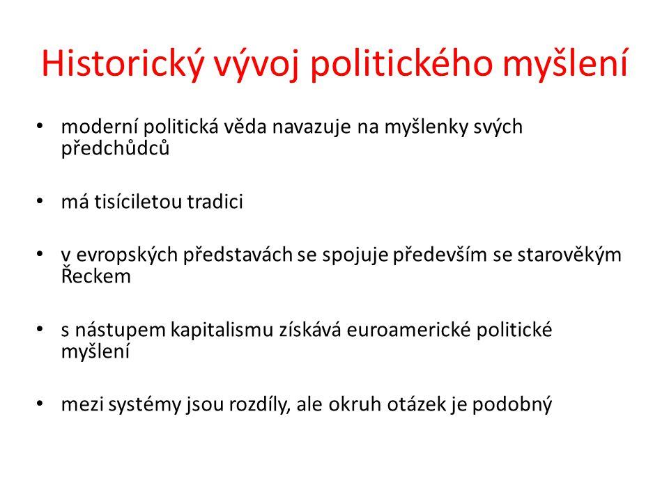 Studium dějin politického myšlení má význam z několika hledisek: 1)umožňuje pochopit rozvoj politického myšlení a jeho návaznost na prostředí 2)umožňuje pochopit specifiku vývoje politického myšlení různých regionů 3)usnadňuje vzájemnou komunikaci a spolupráci