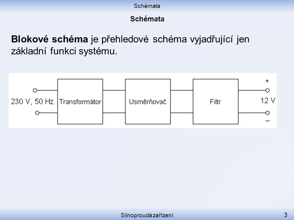 Schémata Silnoproudá zařízení 3 Blokové schéma je přehledové schéma vyjadřující jen základní funkci systému.