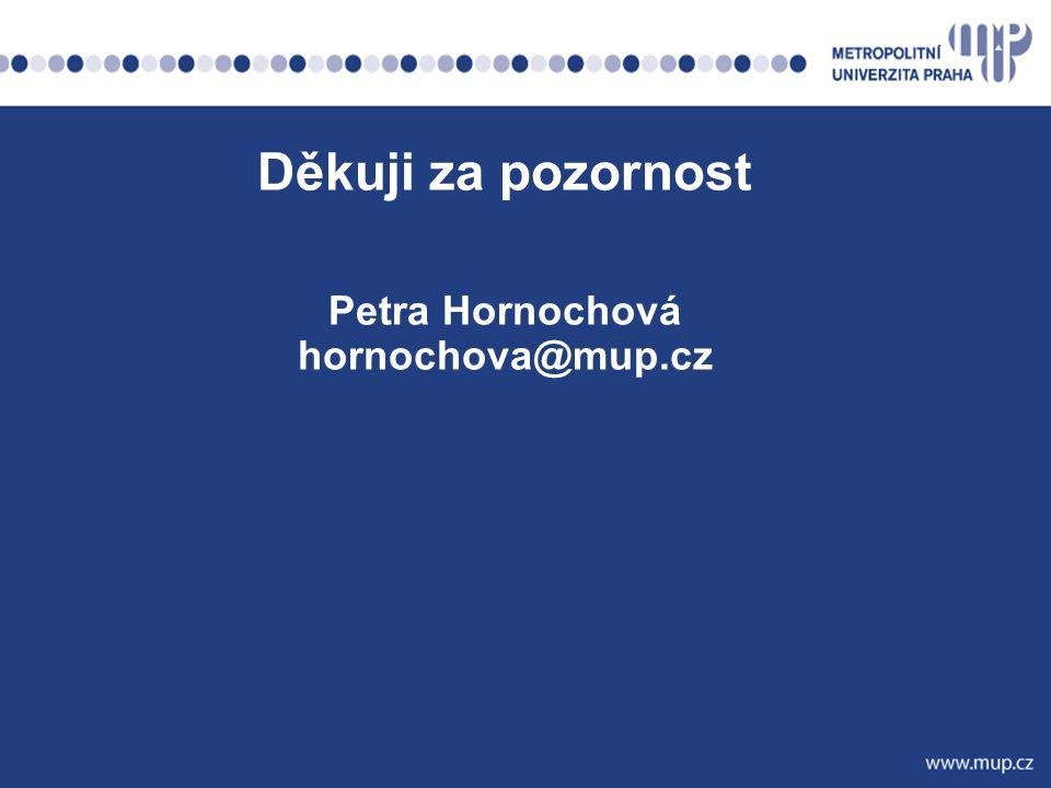 Děkuji za pozornost Petra Hornochová hornochova@mup.cz