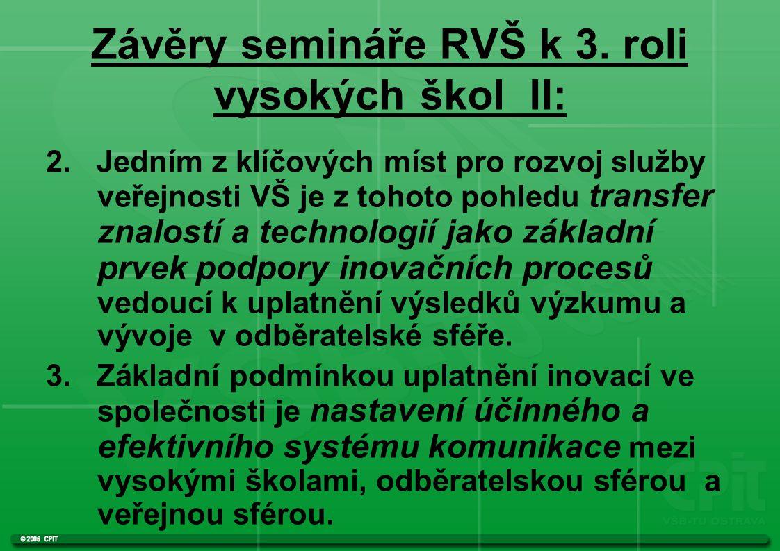 Závěry semináře RVŠ k 3. roli vysokých škol II: 2.