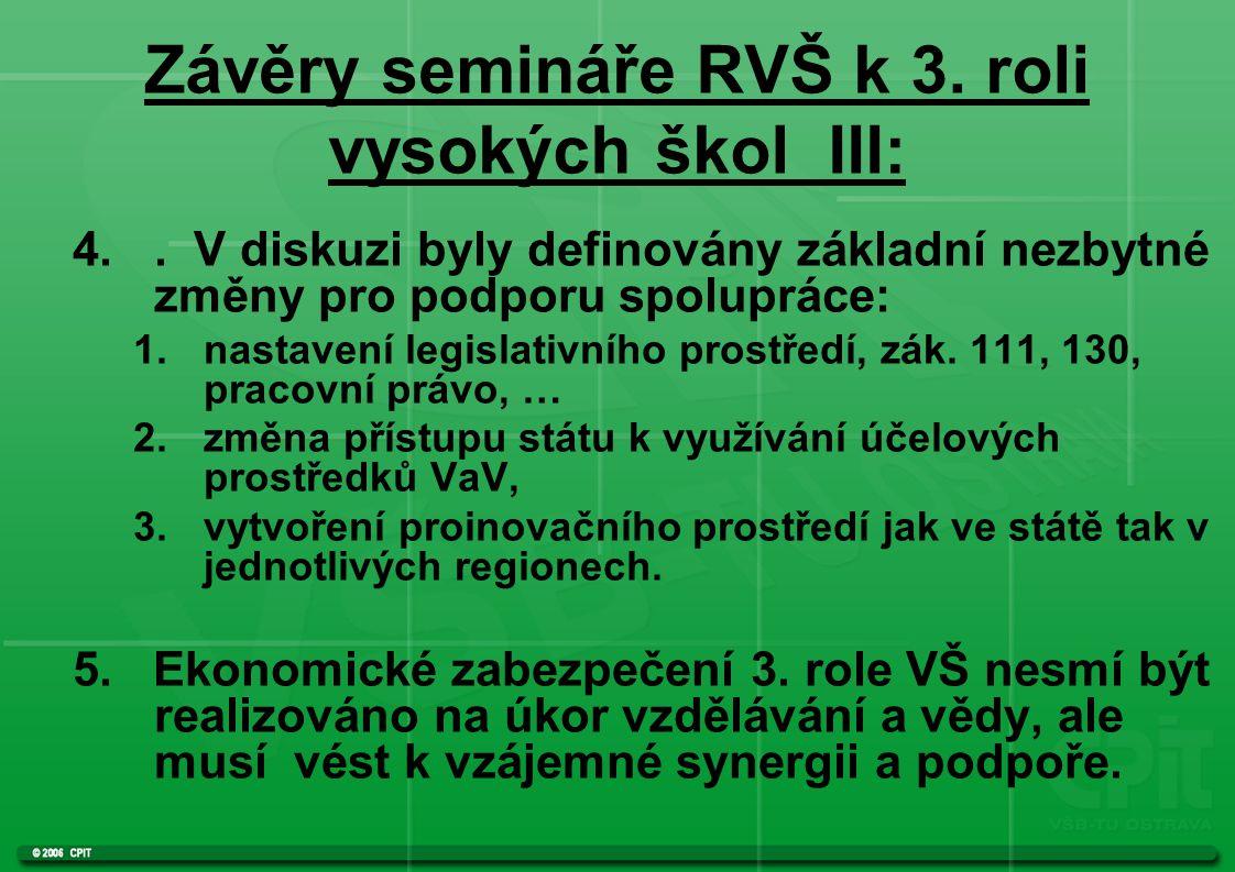 Závěry semináře RVŠ k 3. roli vysokých škol III: 4..