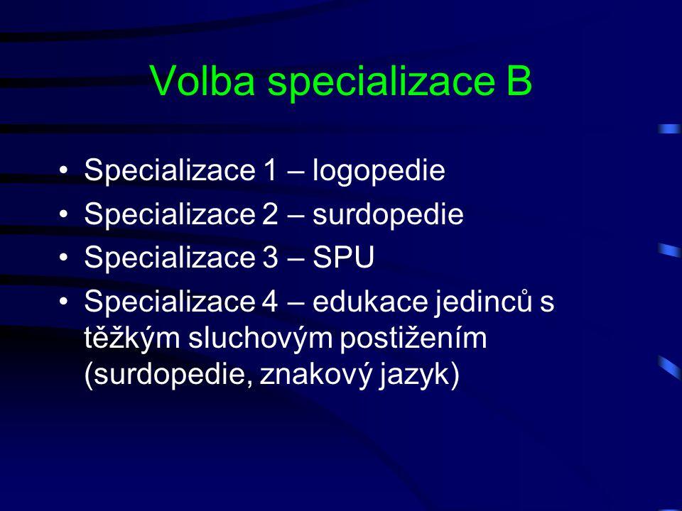 Volba specializace B Specializace 1 – logopedie Specializace 2 – surdopedie Specializace 3 – SPU Specializace 4 – edukace jedinců s těžkým sluchovým p