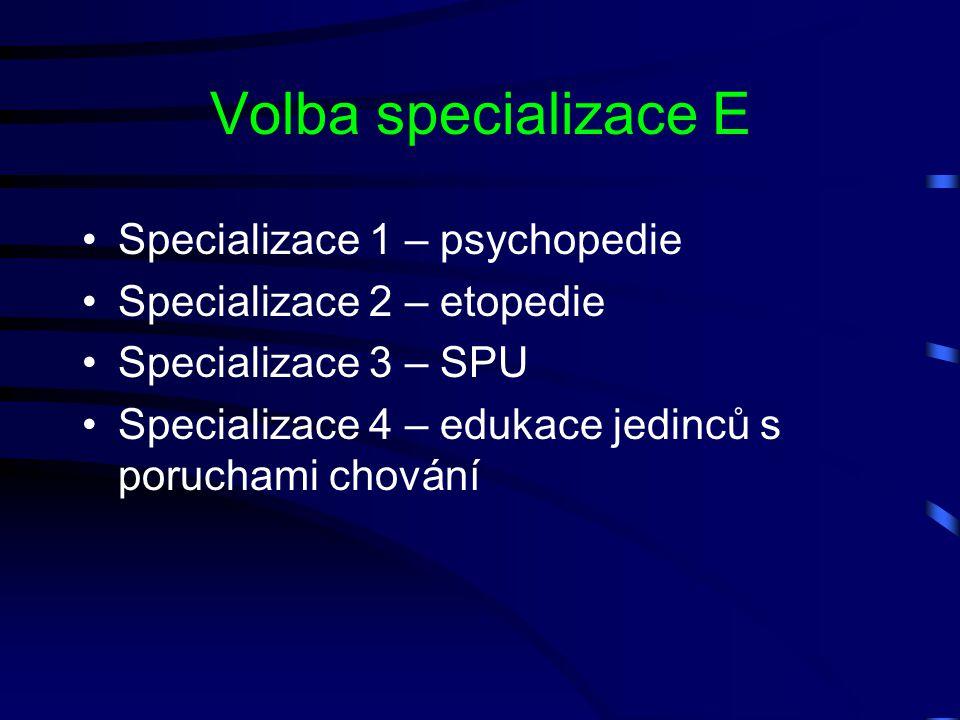 Volba specializace E Specializace 1 – psychopedie Specializace 2 – etopedie Specializace 3 – SPU Specializace 4 – edukace jedinců s poruchami chování