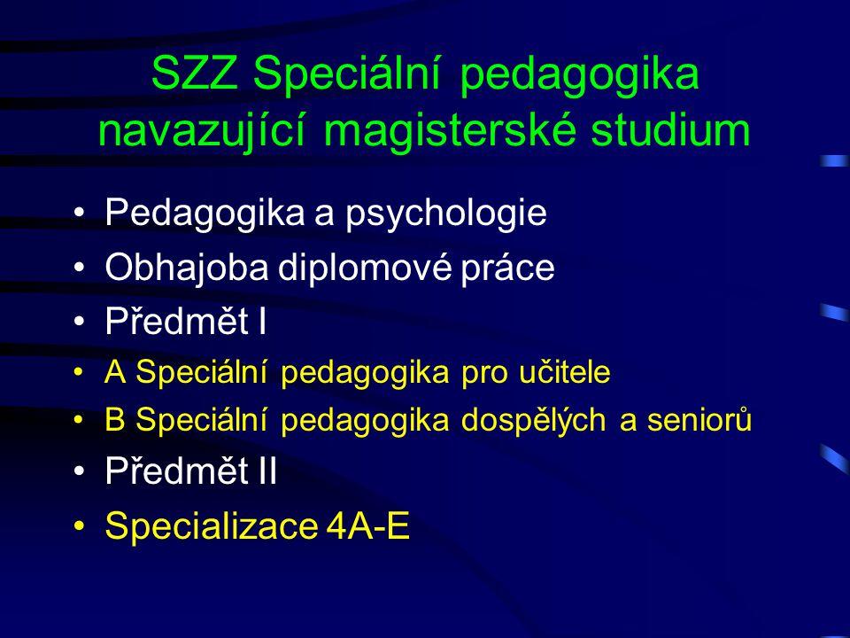 SZZ Speciální pedagogika navazující magisterské studium Pedagogika a psychologie Obhajoba diplomové práce Předmět I A Speciální pedagogika pro učitele