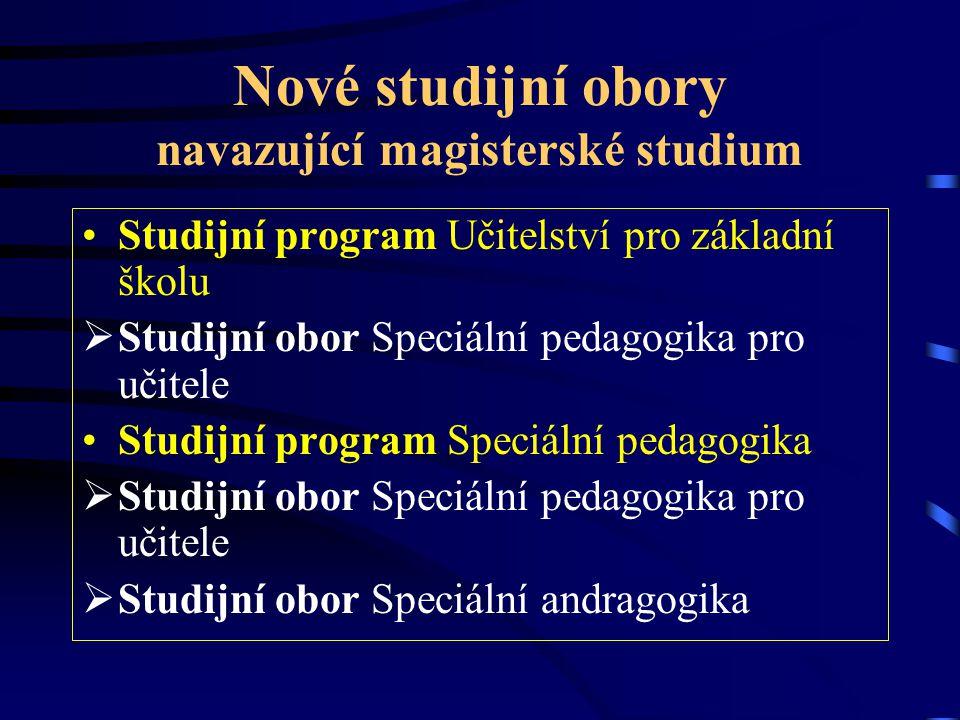 Nové studijní obory navazující magisterské studium Studijní program Učitelství pro základní školu  Studijní obor Speciální pedagogika pro učitele Stu