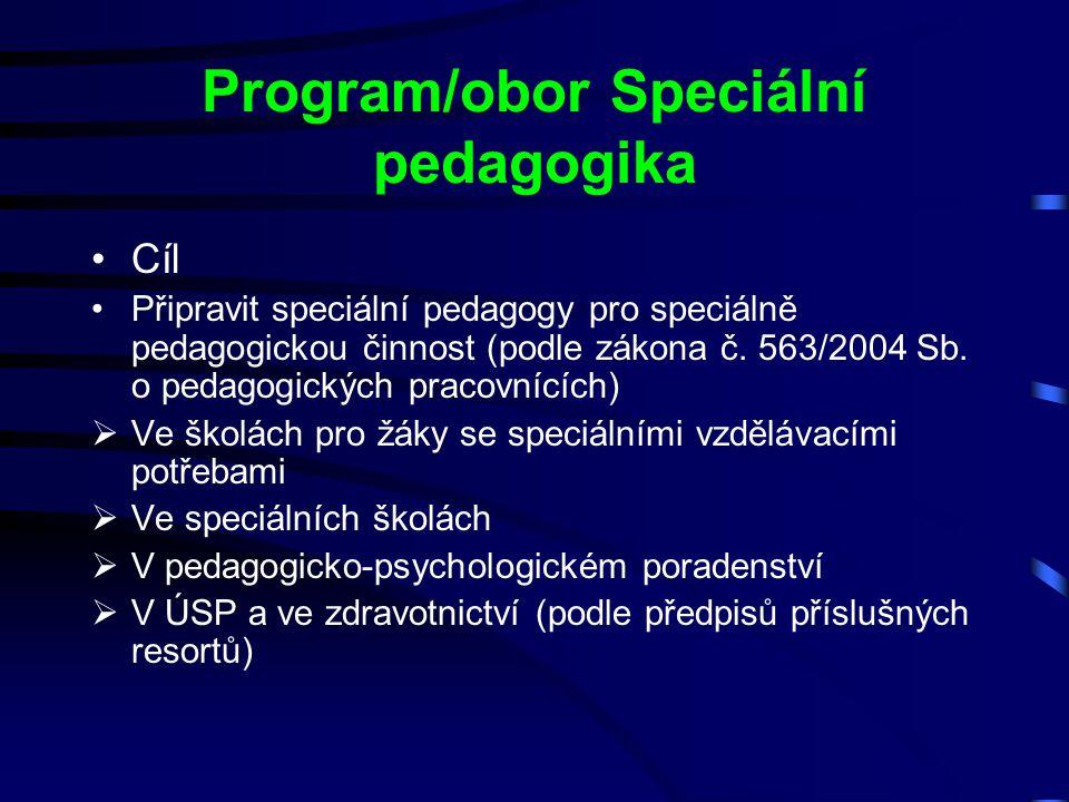 Program/obor Speciální pedagogika Cíl Připravit speciální pedagogy pro speciálně pedagogickou činnost (podle zákona č. 563/2004 Sb. o pedagogických pr