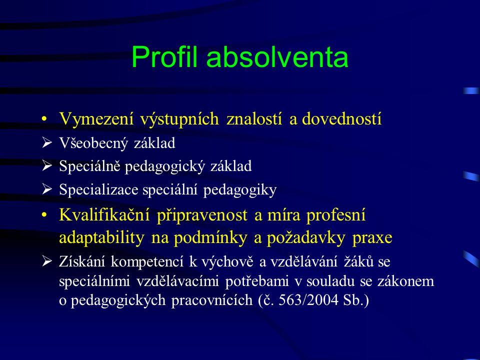 Profil absolventa Vymezení výstupních znalostí a dovedností  Všeobecný základ  Speciálně pedagogický základ  Specializace speciální pedagogiky Kval