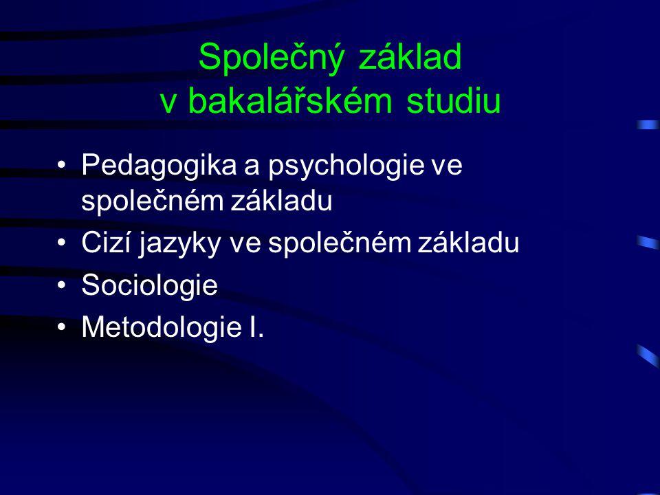 Společný základ v bakalářském studiu Pedagogika a psychologie ve společném základu Cizí jazyky ve společném základu Sociologie Metodologie I.