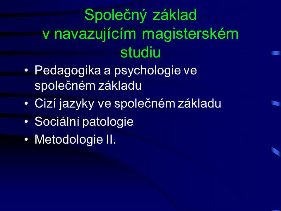 Společný základ v navazujícím magisterském studiu Pedagogika a psychologie ve společném základu Cizí jazyky ve společném základu Sociální patologie Me