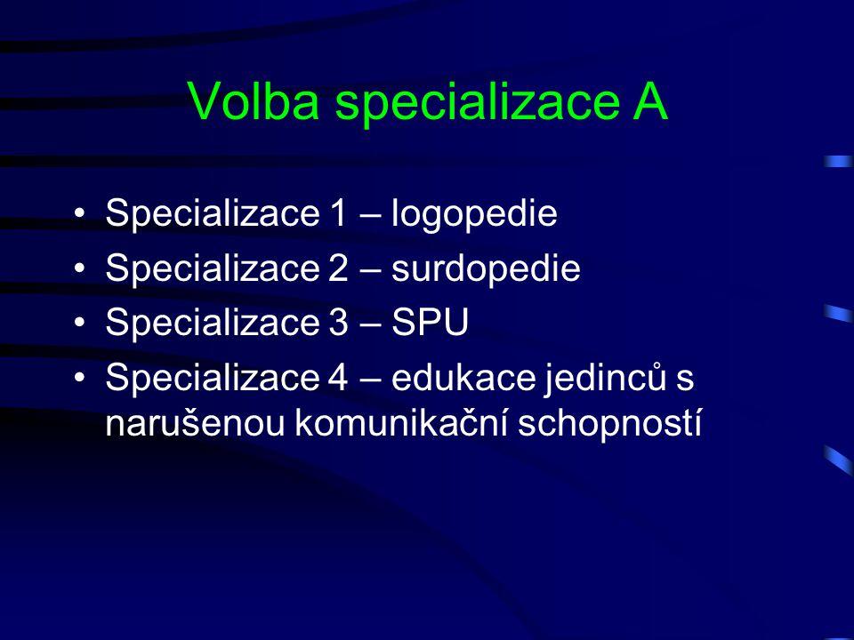 Volba specializace A Specializace 1 – logopedie Specializace 2 – surdopedie Specializace 3 – SPU Specializace 4 – edukace jedinců s narušenou komunika