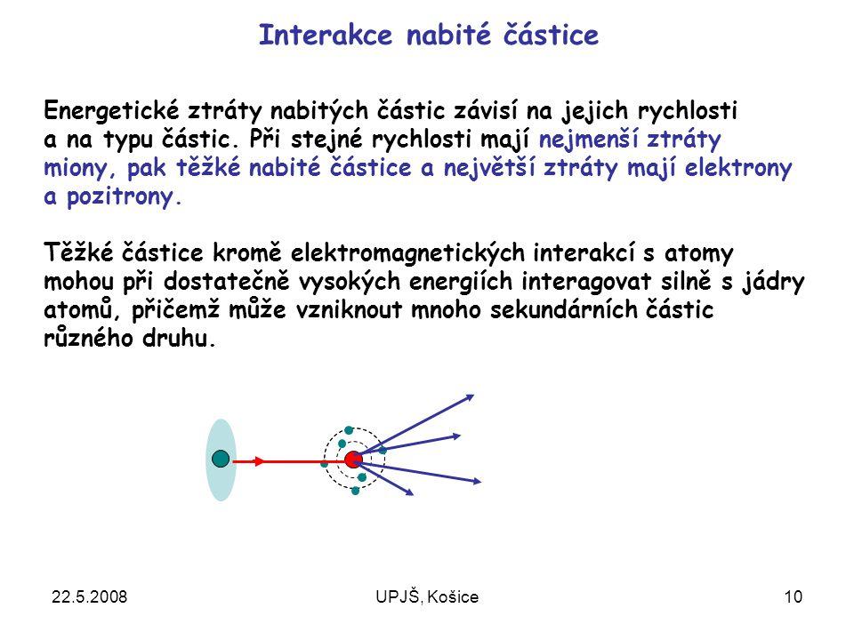 22.5.2008UPJŠ, Košice10 Interakce nabité částice Energetické ztráty nabitých částic závisí na jejich rychlosti a na typu částic.