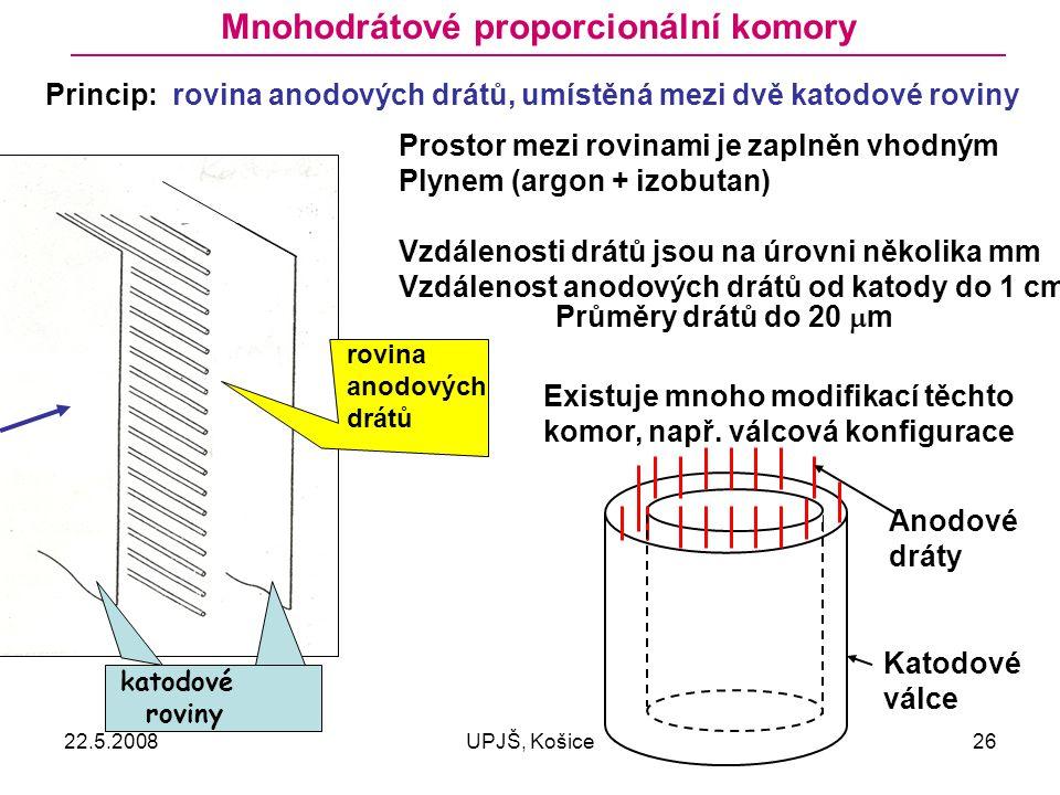 22.5.2008UPJŠ, Košice26 Mnohodrátové proporcionální komory Princip: rovina anodových drátů, umístěná mezi dvě katodové roviny katodové roviny rovina anodových drátů Prostor mezi rovinami je zaplněn vhodným Plynem (argon + izobutan) Vzdálenosti drátů jsou na úrovni několika mm Vzdálenost anodových drátů od katody do 1 cm Průměry drátů do 20  m Existuje mnoho modifikací těchto komor, např.