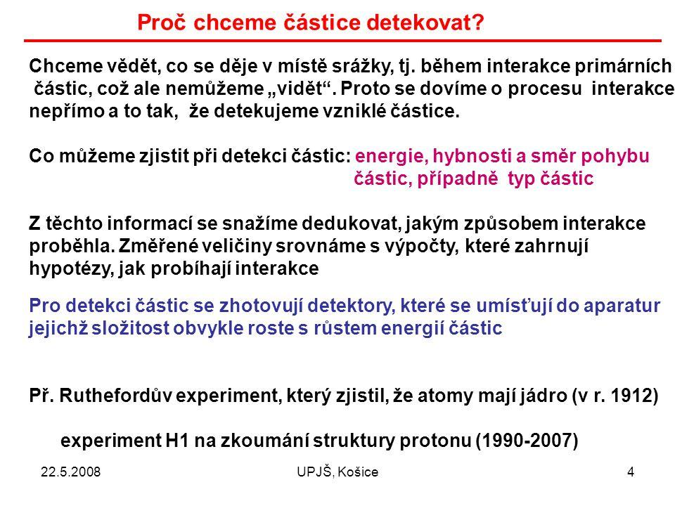 22.5.2008UPJŠ, Košice15 Měření energie částic Abychom změřili energii částice, musíme ji plně absorbovat v nějakém materiálu.
