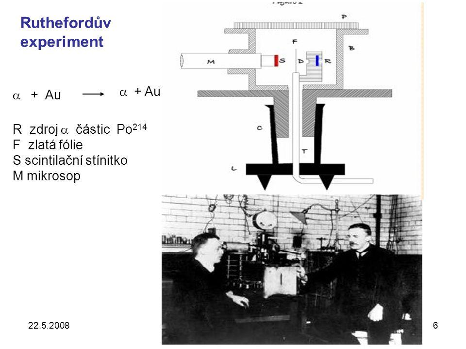 22.5.2008UPJŠ, Košice27 Mnohodrátové proporcionální komory B y x proton Z informací z komor se určí hybnosti částic a úhly výletu částic z terče