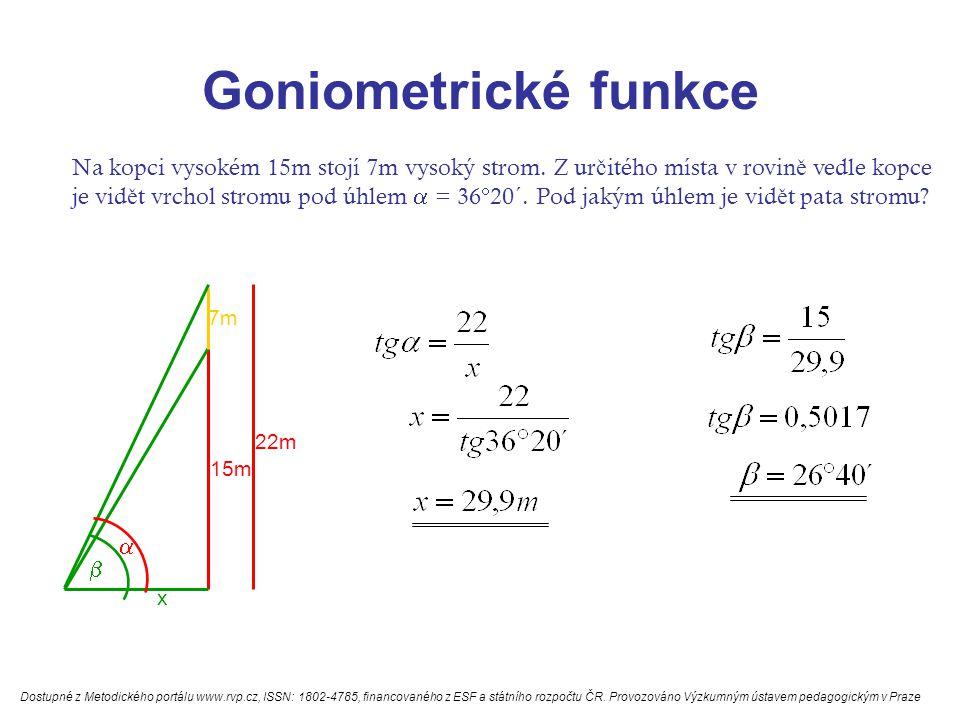 Goniometrické funkce Na kopci vysokém 15m stojí 7m vysoký strom.
