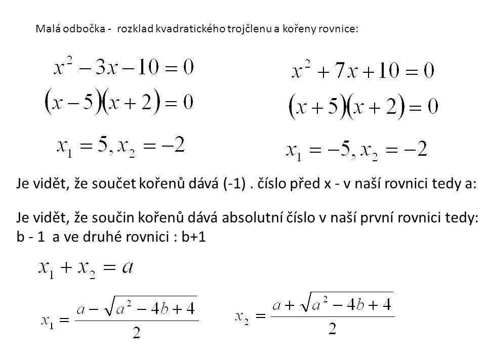 Malá odbočka - rozklad kvadratického trojčlenu a kořeny rovnice: Je vidět, že součet kořenů dává (-1). číslo před x - v naší rovnici tedy a: Je vidět,